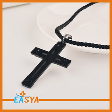 Mens Black Chain Black Cross Necklace