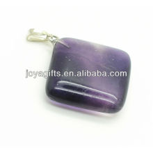 High quality natural purple fluorite rhombus pendant semi precious stone pendant