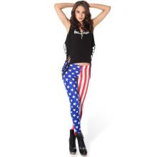 Moda EUA bandeira impressão leggings para as mulheres, bandeira americana calças, hot vender EUA bandeira impressão apertado leggings para meninas da moda