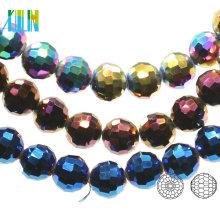 A5003 # -4 96 Facetes Centre percé perles Chunky Crystal Earth boule disco en verre