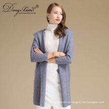 Entrega rápida larga manga2 colores mujeres jersey de punto de invierno en blanco 100% suéter de cachemira