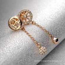 Cheap Fake diamond pendant earring particular asymmetric fake diamond letter h and wheel crystal pendant earring