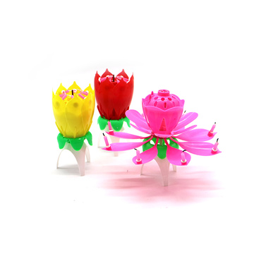 Birthday Candle Rotating Lotus Flower Candle