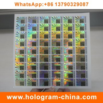 Anti-Fake Custom Hologram Stickers with Qr Code Printing