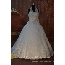 IN STOCK Halter wedding dress sleeveless floor-length V-neck bridal dresses SW44