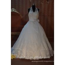 IN STOCK Halter wedding dress sleeveless floor-length V-neck bridal dresses SW44