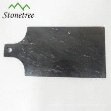 Tablero negro del granito de la paleta de la cocina de la pizza de piedra natural de Placemat de la tabla de queso de la paleta con las manijas
