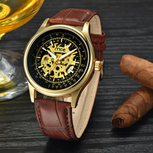 custom dial machine case skeleton mens watch