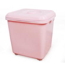 Balde de arroz de grande capacidade de comida de plástico de cozinha com roda