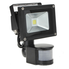 10W IP65 85-265V Sensor de movimento PIR com controlador IR LED Floodlight