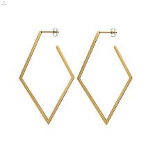 Boucles d'Oreilles Rhombus Géométrique Statement Gold Stud Vintage