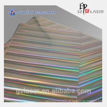 Arco-íris colorido holográfico papel metalizado para impressão e embalagem