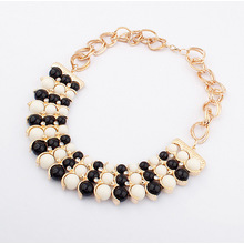 Factory Outlet exaggerated acrylic bead temperament dress necklace handmade beaded jewelry gold metal necklaces