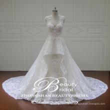 Appliques de strass em moda vestido de noiva com aliança em v-neck e veja através de trás