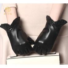 Decorative border leather glove,fashion women leather glove,ladies leather glove