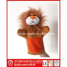 Bebé aprendizaje historia juguete de peluche marioneta de mano de león