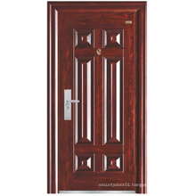 Red Walnut Colour Simple Panel Steel Security Door