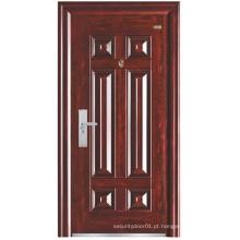 Porta de segurança de aço de painel simples de cor vermelha de noz