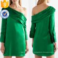 Un hombro manga larga verde poliéster suelta ajuste Mini vestido de verano Fabricación venta al por mayor ropa de mujer de moda (TA0278D)