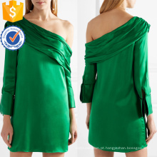 Um ombro de manga comprida verde poliéster solto Fit Mini vestido de verão Fabricação Atacado Moda Feminina Vestuário (TA0278D)