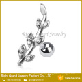 Gemmed Flower Vine Leaf Tragus Barbell Surgical Steel Cartilage Bar Helix Piercing