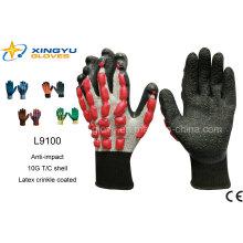 T / C Shell Crinkle guantes de trabajo de seguridad revestidos de látex (L9100)