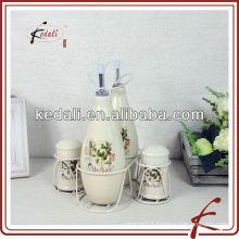 ceramic cruet set in holder used for restaurant