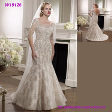 Best Selling Pictures of Latest Gowns Designs Grey Lace V-Back Bridal Wedding Dress