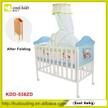 China Factroy NEUE Faltbare Babybett mit Single High Pole Moskitonetz und dicken Matratze Baby Reisebett Blau für Junge