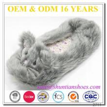 Confortável cinza cabelos longos catty pés de animais chinelos para as mulheres