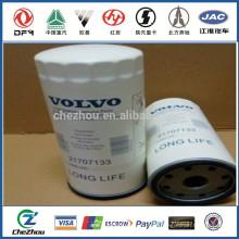 Filtro de óleo de alta qualidade 21707133 para peças de motor de carro / auto / ônibus / caminhão