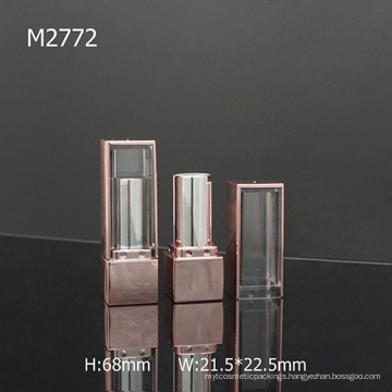 Square Pink Fashion Custom Empty Lipstick Tube With Window