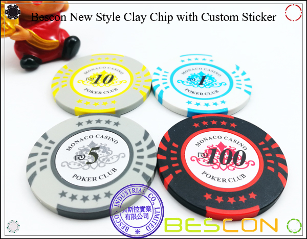 Bescon New Style Clay Chip with Custom Sticker-4