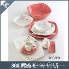 cálido juego de cena de cerámica indestructible blanco y rosa