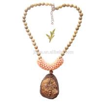 Большой Жирный Крючком Роскошные Золото Агат Кулон Камень Ожерелье Из Бисера