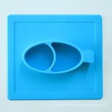 Plaques de repas en silicone pour repas Skid-Proof enfants