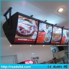 Caja de luz caliente del menú de la publicidad de tres lados de la venta
