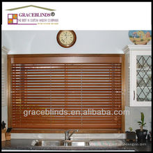 UV coating to protect against fading real wood 35mm slats ladder string cord tilt wood blinds