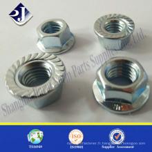 Écrou moleté à bride hexagonale galvanisée standard ou personnalisée