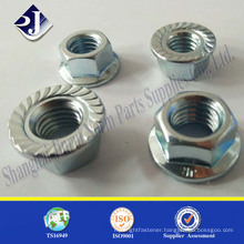 standard or customized galvanized hex flange knurled nut
