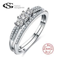 Korean Fashion 925 Silber Schmuck weißen Diamanten Perlen Sterling Silber Ring