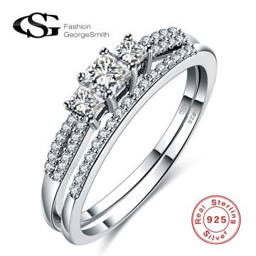 Korean fashion 925 silver jewelry white diamond beaded Sterling silver ring