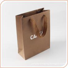 China supplier logo printing reusable kraft paper bag with rope handle