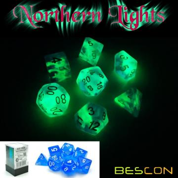 Bescon Super Glow in the Dark Nebula Glitter Polyhedral Dice Set NORTHERN LIGHT, Luminous RPG Dice Set, Glowing Novelty DND Dice