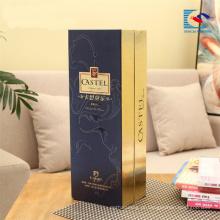 Luxo personalizado high end papelão flip top vinho caixa de papel de presente