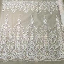 Tissu perlé de haute qualité de mariage de broderie à la main