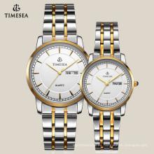 Reloj de diseño más nuevo para pareja con banda de acero inoxidable 70007