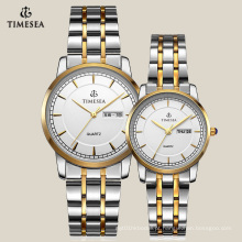 Relógio de design mais novo para casal com banda de aço inoxidável 70007