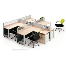 Vertical 7 Shape Easy Assembly Desmontable Clúster de Office de 4 estaciones de trabajo