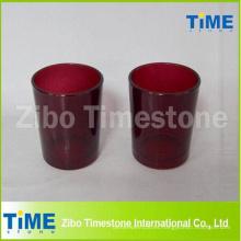 Candeleros votivos de vidrio rojo